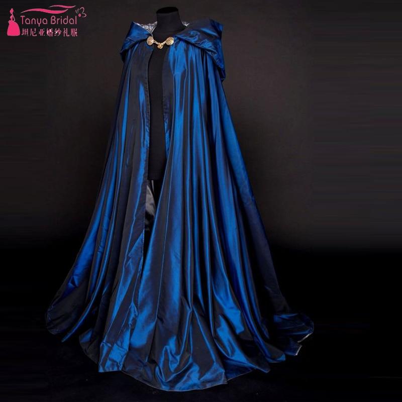 Blue Long Wedding Wrap with hats Bridal Winter Bolero women Coat for Evening Wear Elegant Wedding