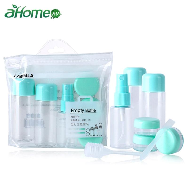 Portable Transparent Travel Cosmetics Bottle Spray  Makeup Storage Organizer 8 Pics Set For Lotion Cream Bathroom Accessories