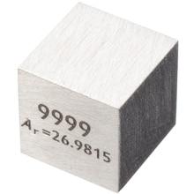 1Pcs 99.99% ความบริสุทธิ์สูงอลูมิเนียมองค์ประกอบCubeโลหะ 10 มม.ความหนาแน่นก้อนแกะสลักตารางธาตุCube