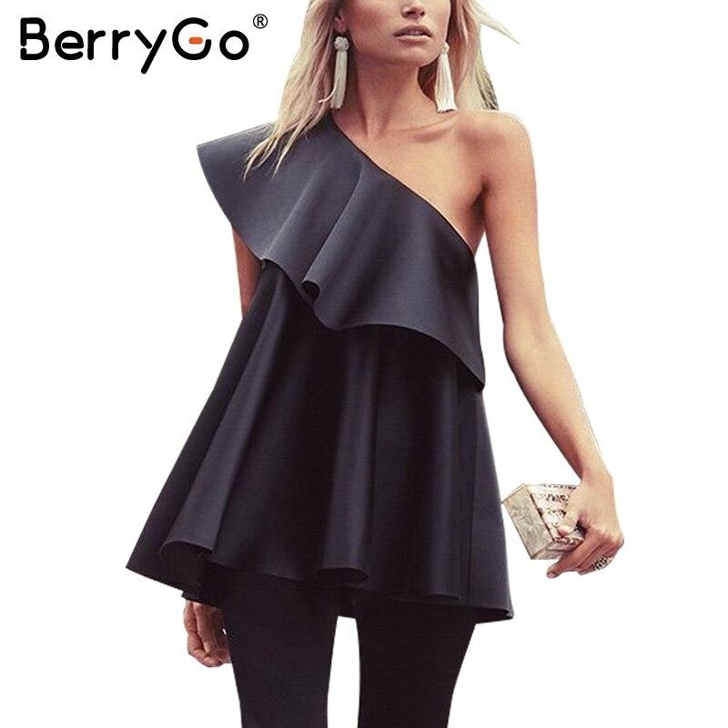 BerryGo Satén de la colmena del hombro de la blusa blusa blusas camisa 2017 de v