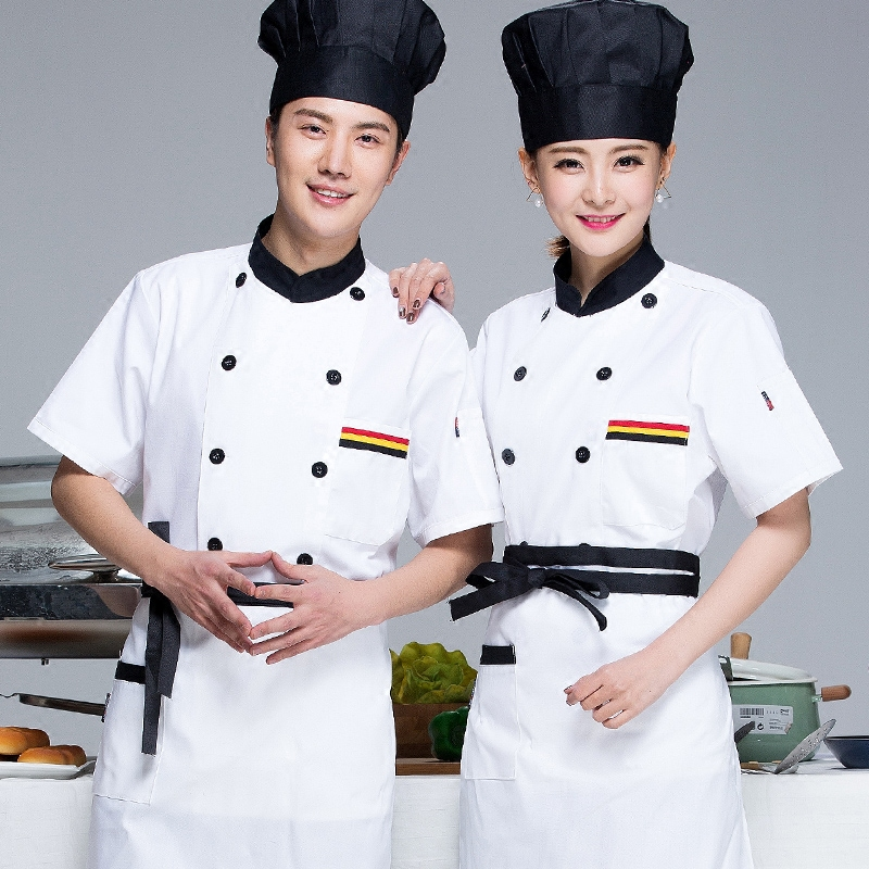 Chef Wear Short Sleeved Uniforms Hotel Cake Pastry Kitchen And Half Sleeve Overalls Chinese Chef Work Clothes Shirt J149