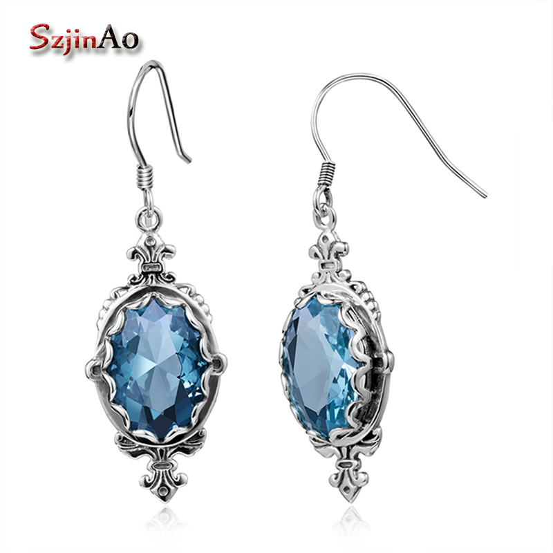 Szjinao Luxury Long Oorbellen Sailor Moon 925 Sterling Silver Tassel Earrings for Women Oval Aquamarine Vintage Indian JewelrySzjinao Luxury Long Oorbellen Sailor Moon 925 Sterling Silver Tassel Earrings for Women Oval Aquamarine Vintage Indian Jewelry