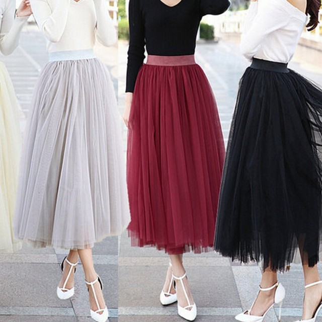 92b50459612 Modest Ankle Length Skirt Soft Tulle Waist Band 3-4 cm Black Silver Dare Red