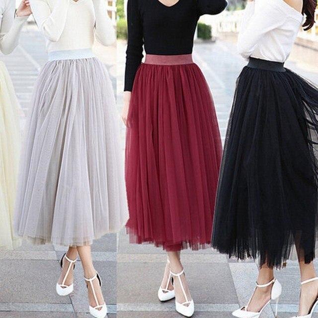 Modest Longitud Del Tobillo Falda de Tul Suave Banda de Cintura 3-4 cm Negro Atreves de plata Rojo O Beige Color de Larga Falda de Tul Para Las Mujeres