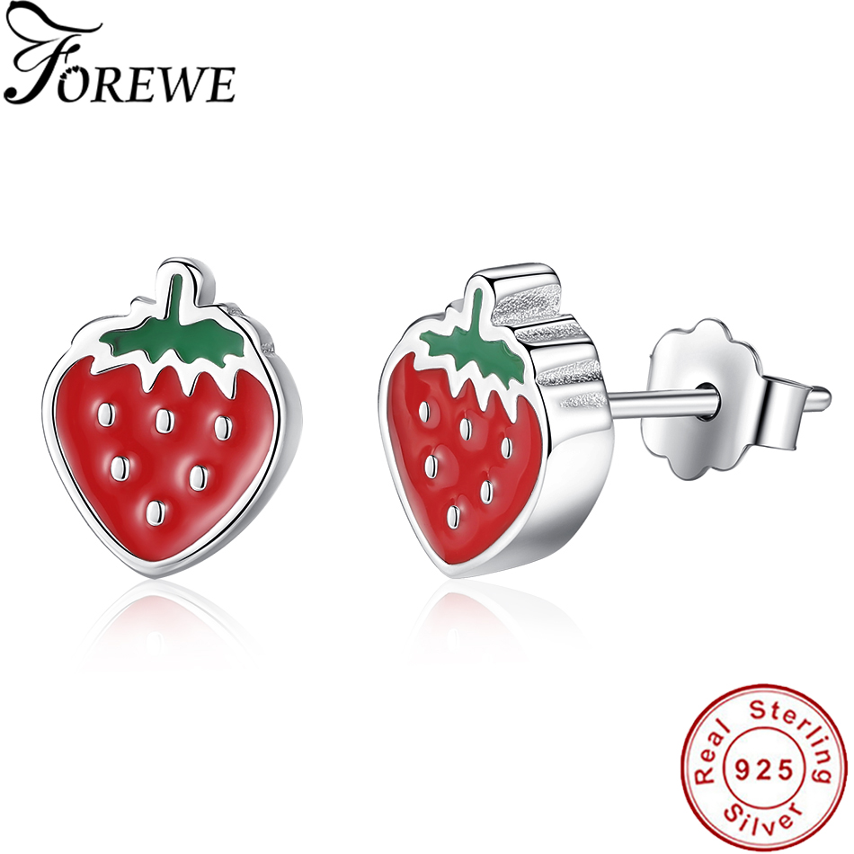 FOREWE Authentic 925 Sterling Silver Stud Earrings For Women Fashion Red Enamel Strawberry Earrings Sterling-silver-jewelry Gift