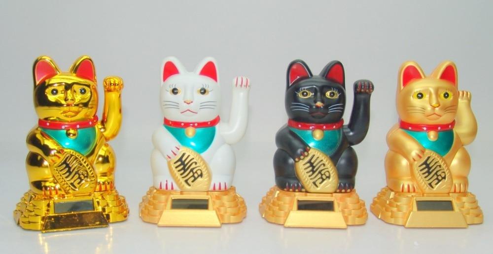 Japanese Solar Energy White Money Cat Statue