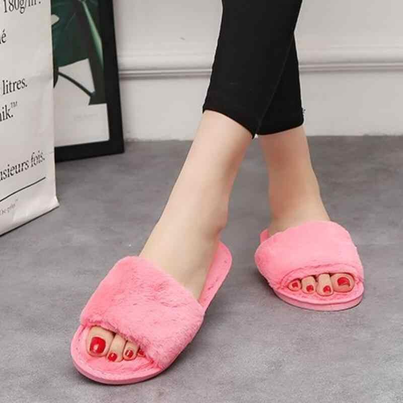 Tasarımcı kürk slaytlar kadın terlik kış kabarık ev terlikleri kadın ayakkabısı ev slaytlar kürk kapalı rahat Chaussure Femme 2020