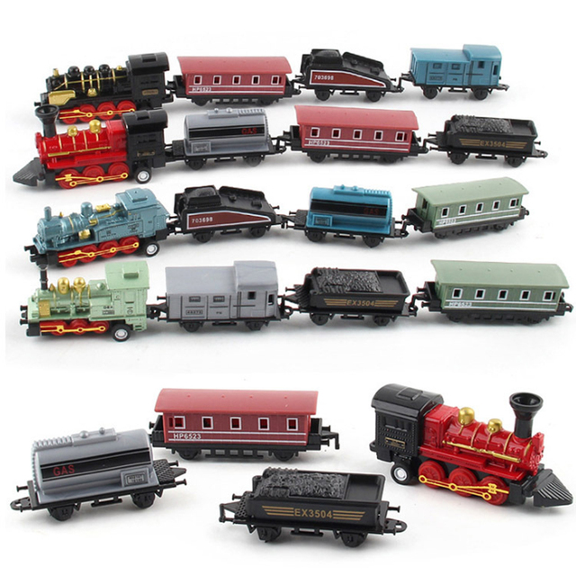 4 Cars/ kit  Simulation Steam Small Train Pull-back Car Vehicle Toy Support Children Learning Playing Set- Black car toy