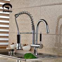 Wholesale And Retail New Double Swivel Spout Spring Kitchen Sink Faucet Hot And Cold Pull Out