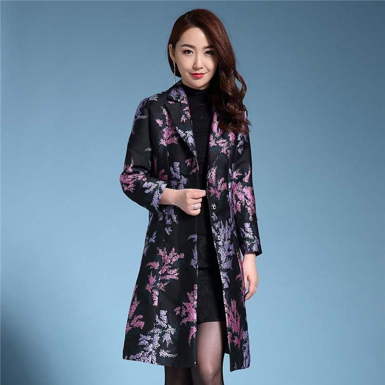 Plus size S-4XL 2018   Trench   coat women o-Neck jacquard outerwear dobby women's   trenches   mother cloth Flower coat   trenches