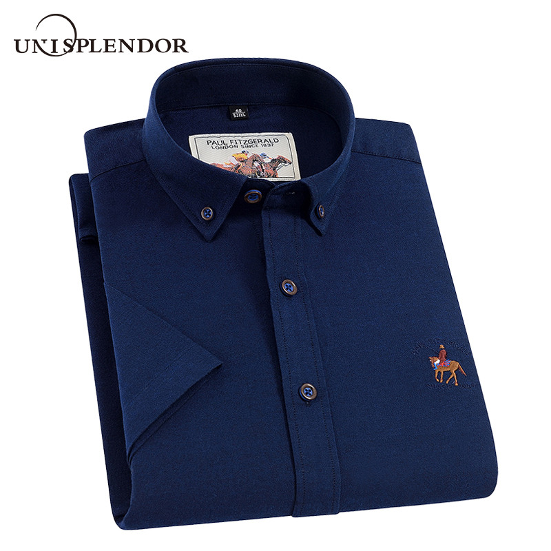 Unisplendor 100%Cotton Men Short Sleeve Shirts Summer Mens' S Clothing Business Party Man Shirt Casual Soft Top Brand YN10484