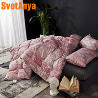 Svetanya Duck Feather Duvet thick warm Quilt Cotton Printed Throws Blanket Twin Full Queen King Size Plaids