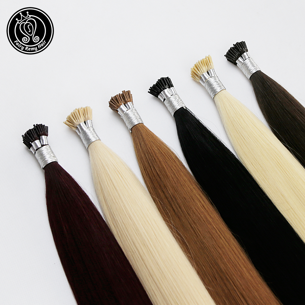 Fairy Remy Hair 0.8g/s 16 inch Real Remy Fusion Keratin I Tip Human Hair Extensions Silky Straight Professional Salon Stick Hair
