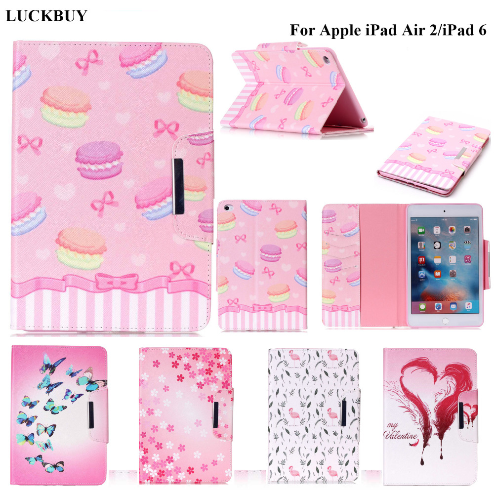 LUCKBUY Macaron cake Feather Design tablet for girls Lady Fashion PU Leather Cute Cover Case For iPad air 2 Cases for ipad 6 gen