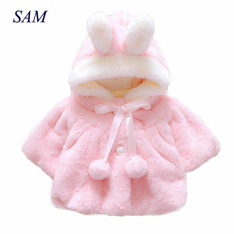 Winter Coat Lovely Solid Fashion Kids Baby Girl Clothes Latest Girls Children Clothing Fur Ball Small Fresh Rabbit Hat Costume