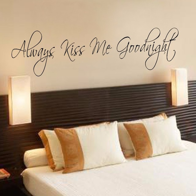 Always Kiss Me Goodnight Wall Decal Master Bedroom Decor Large 40 64cm X152 4cm