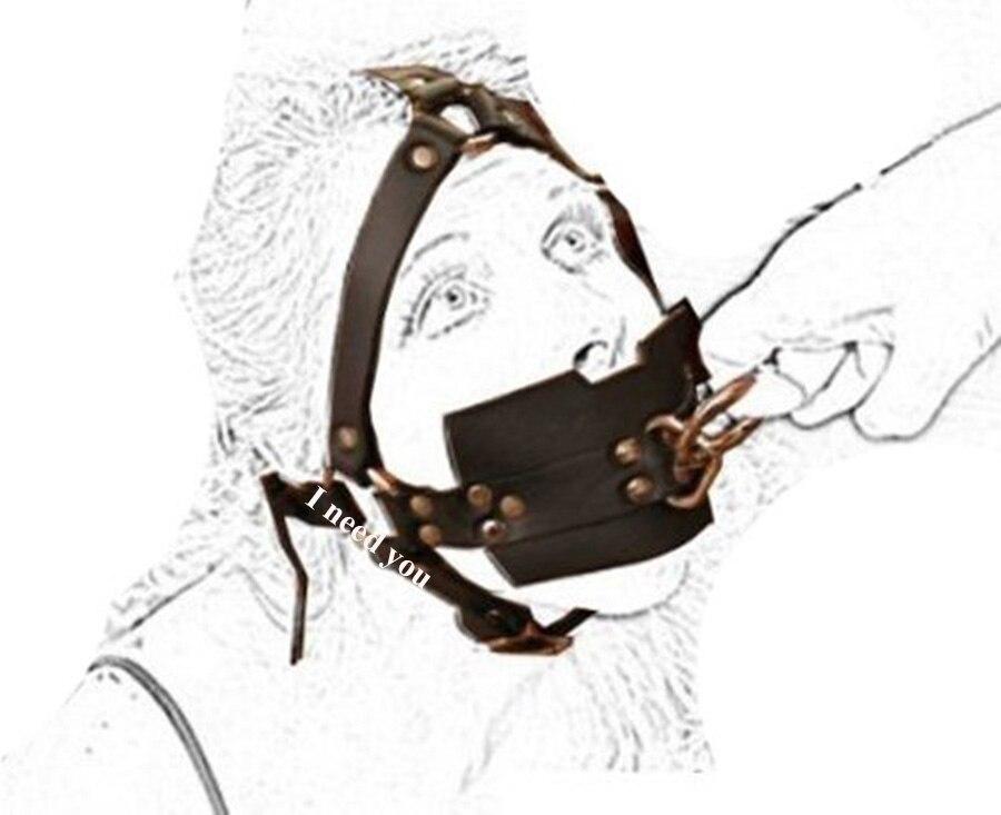 Gimp Fetish Bondage Leather Muzzle Ball Gag, Head Harness Slave Sub,Harness Half Head Strap,Adult Mouth Cover