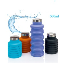 цена 500ML Portable Silicone Water Bottle Retractable Folding Coffee Bottle Outdoor Travel Drinking Collapsible Sport Drink Kettle