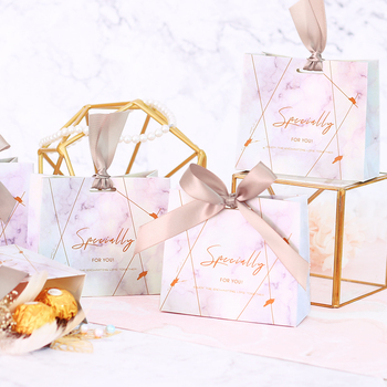 Free Shipping 50pcs ribbon Tote shaped Wedding party favor Unique  Pink marble  boxes baby shower guests candy chocolate bag