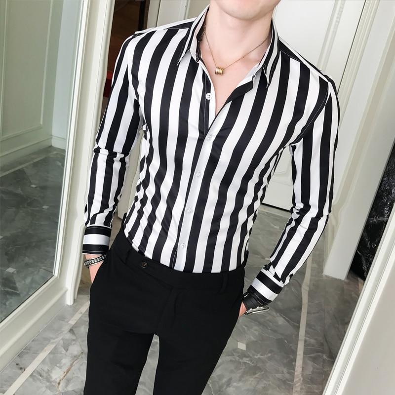 2019 New Business Shirt Men High Quality Turn Down Collar Slim Fit Men's Social Shirts Long Sleeve Gentlemen Striped Mens Shirts