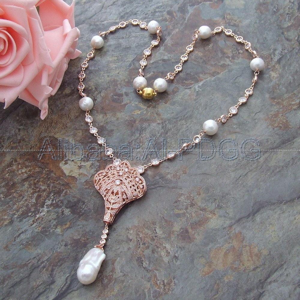 26 White Keshi Pearl Necklace CZ Pendant n121905 22 white keshi pearl necklace cz pendant