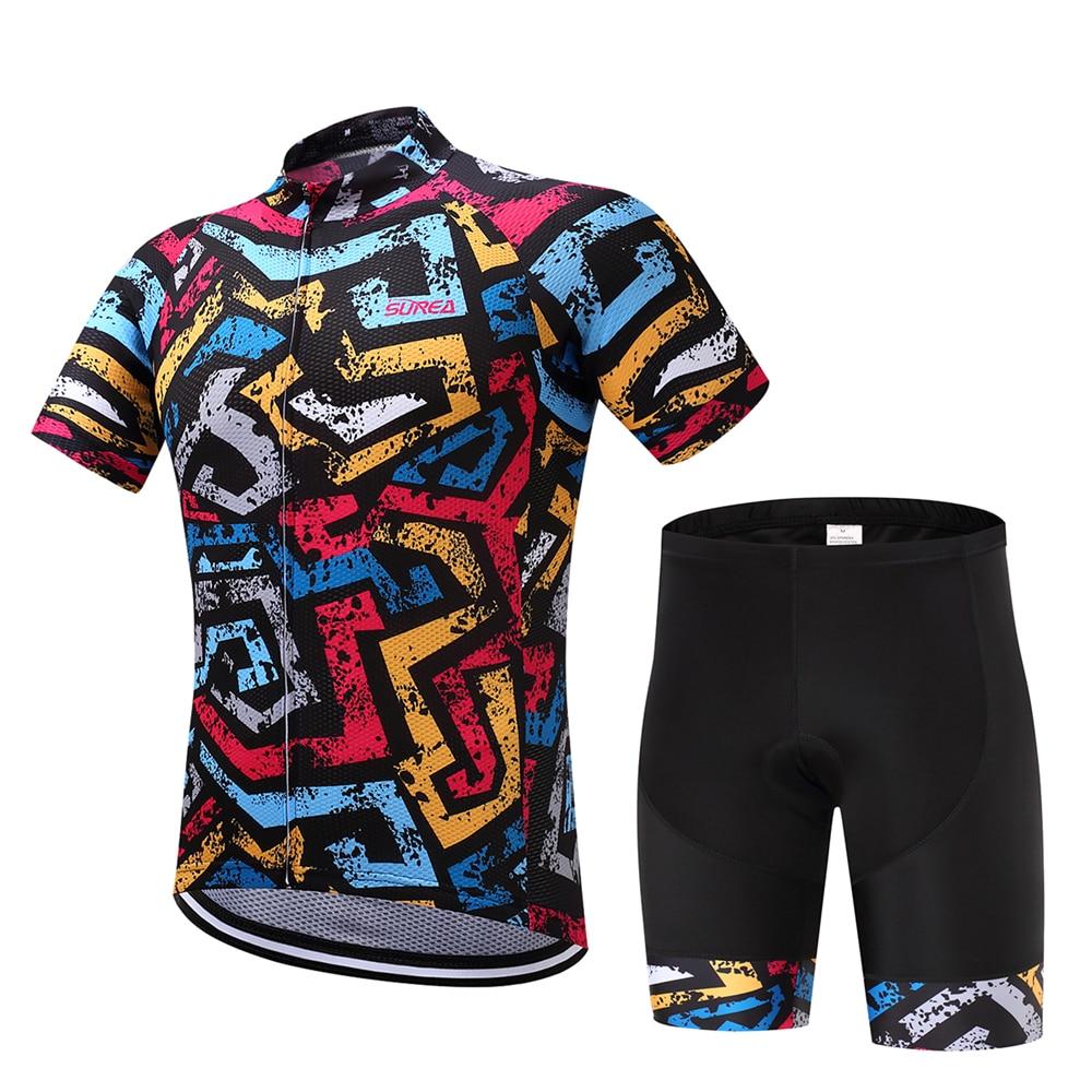 Mixed Colorful Scrawl Print Bicycling Jersey And Shorts