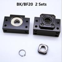 2pcs BK20 Fixed Side and 2pcs BF20 Floated Side for ball screw end support cnc part 2 sets BK/BF20