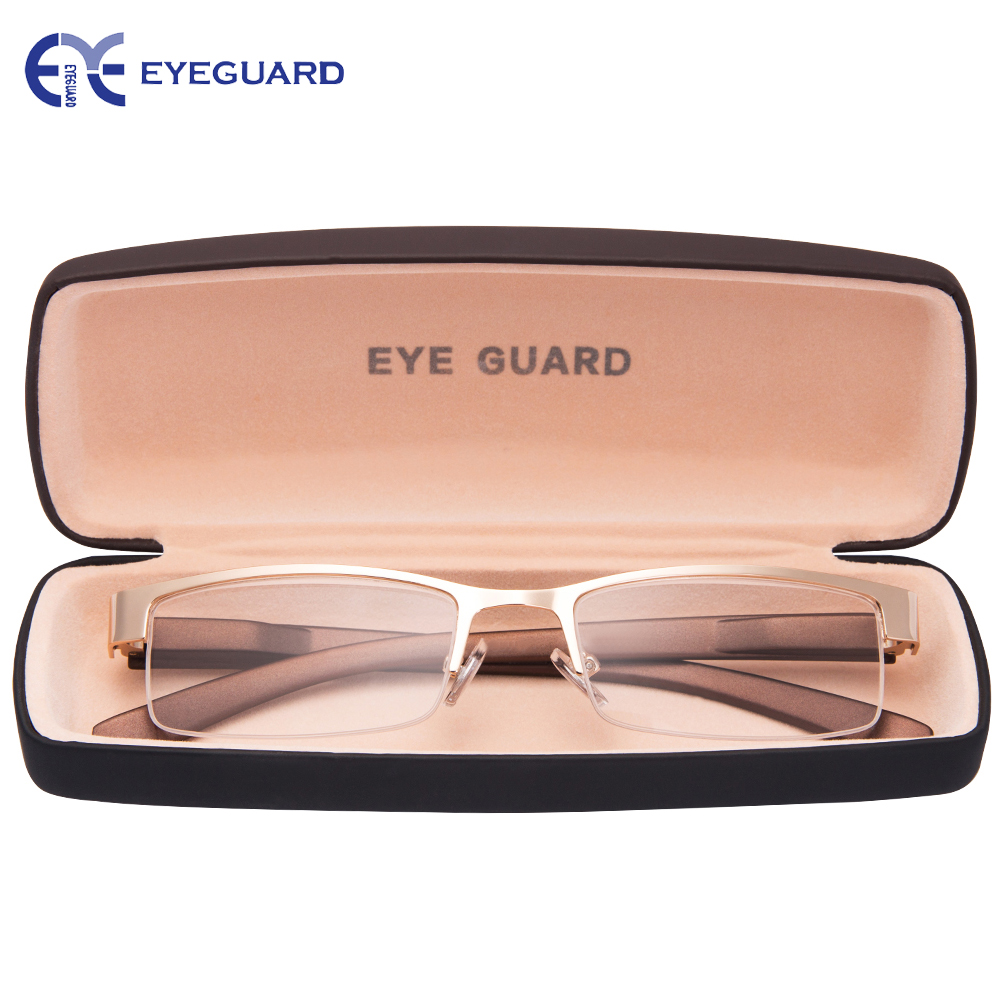 EYEGUARD Readers Reading Glasses Metal High Deluxe Rectangular Half Frame Business Men Golden Gold