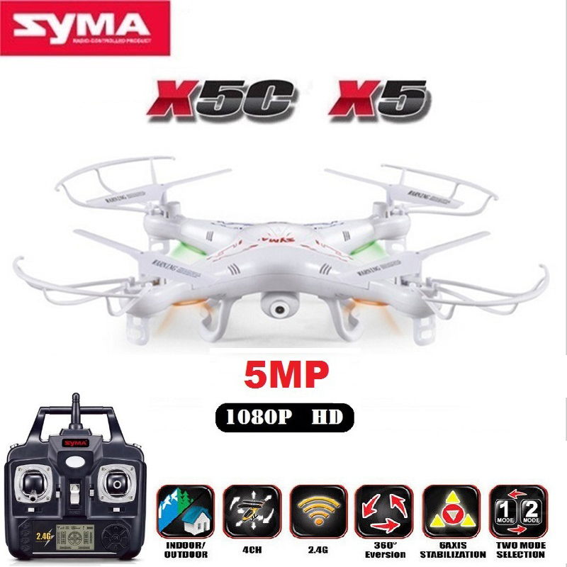 SYMA X5C (Upgrade Version) RC Drone 6-Axis Remote Control Helicopter Quadcopter With 5MP HD Camera RC Drone syma x5c rc drone 4ch 6 axis helicopter quadcopter 2 0mp hd camera drone