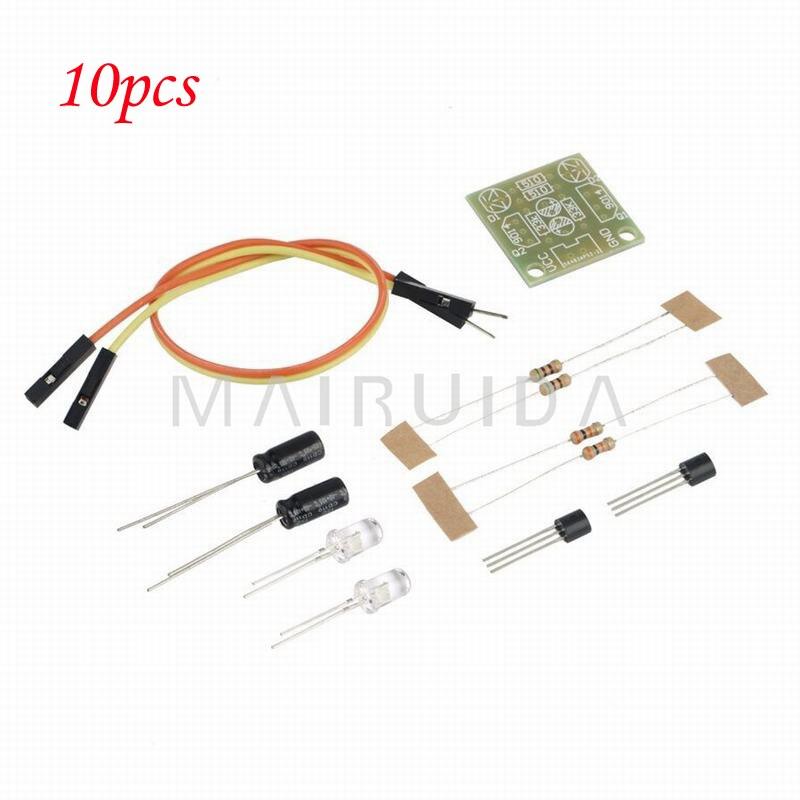 10pcs/lot 5MM LED Simple Flash Light Simple Flash Circuit DIY Kit 1set transistor multivibrator simple led flash flashing lights circuit kit parts module sensor