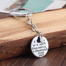 Father Son Daughter Love Heart Round Charm Keychain Keyring keyfobs Car Key Ring Gifts