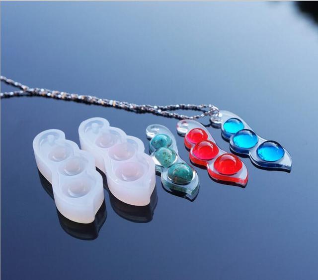 e2050318b5bc 1 unids Guisante de silicona molde DIY resina collar pendiente joyería  artesanal hacer molde moldes de