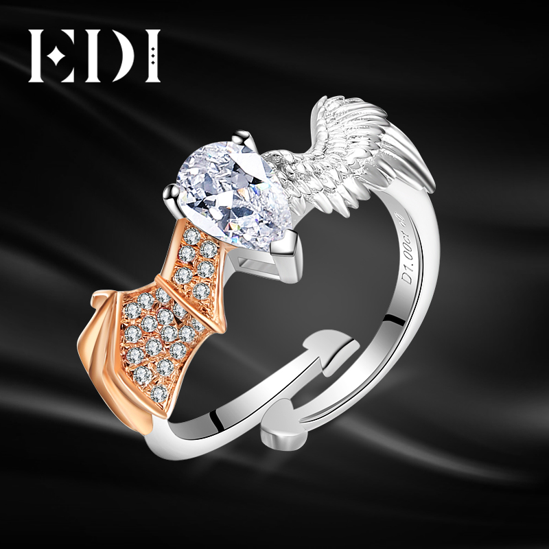 EDI Genuine Moissanites Diamond D-F Color 14k 585 White Rose Gold Wedding Ring For Women Devil and Angel Fine Jewelry