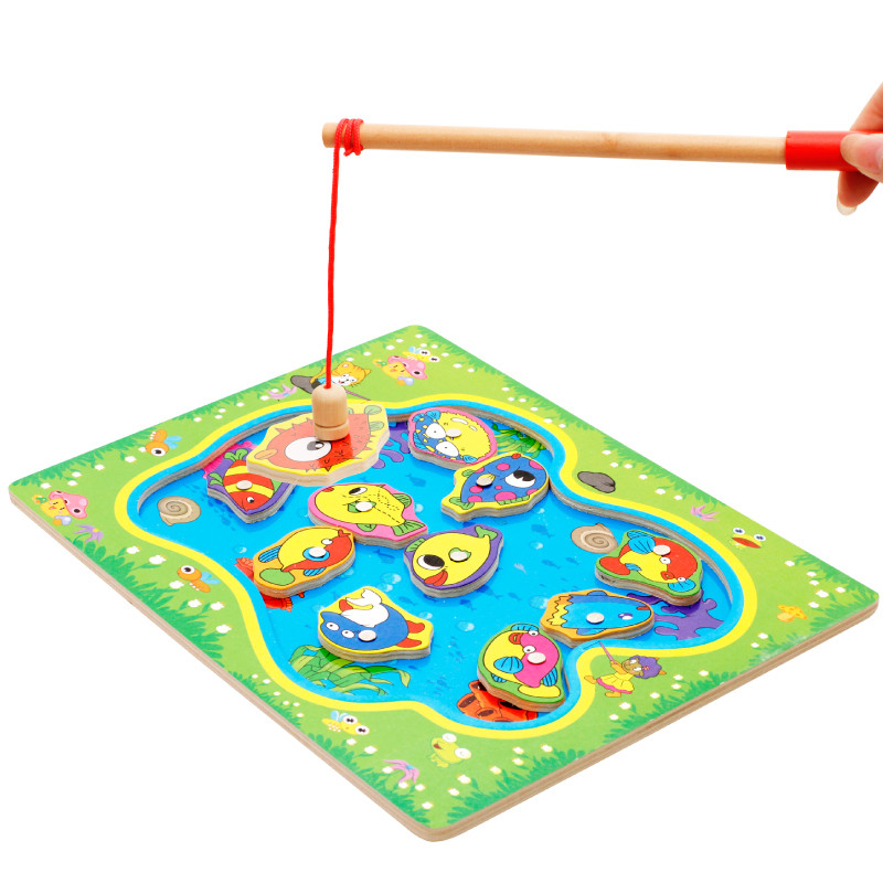 2017 Magnetic Fishing Children Fishing Puzzle Baby Toys Wooden Educational Early Childhood Learning Magnetic Fish Toy Age 2–8y