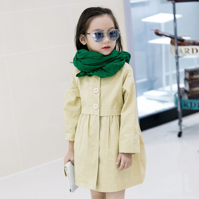 Nueva Coreano de Un Solo Pecho 2016 Moda Niño Niñas de Algodón de Manga Larga Sólido Verde/Rosa/de Color Caqui Largo Ocasional zanja