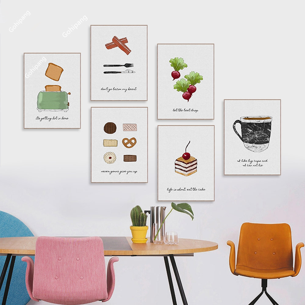 Watercolor Food Cake Coffee Fruits Quotes Posters Prints Nordic Style Kitchen Cafe Wall Art Pictures Home Decor Canvas Painting(China)