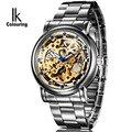 Novo Relógio de Marca Famosa homens Whatch Luxo Mostrador em Ouro Esqueleto Mecânico Automático de Pulso de Aço Tira relógio de Pulso zjy-98228G