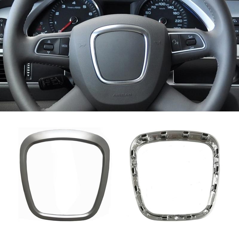 Silver chrome ABS steering wheel trim emblem logo frame sequins sticker interior accessories for Audi A4