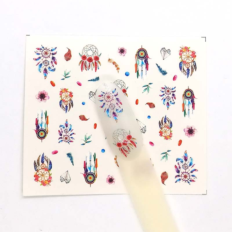 Embossed Nail Sticker Flower Adhesive DIY Manicure Slider Nail Art Tips Decorations Decals B66 in Stickers Decals from Beauty Health