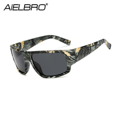 AIELBRO Polarized Cycling Sunglasses Men Brand Designer Square Sports Sun Glasses For Driving Camo Frame Goggle UV400
