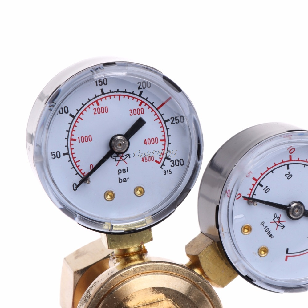 Argon CO2 Gauges Pressure Reducer Mig Flow Meter Control Valve Welding Regulator G25 Drop ship argon co2 pressure reducer mig flow control valve dual gauge welding regulator mayitr flow meter with safety relief valve