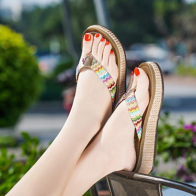 2019 Mode Damen Sandalen Dicken Boden Mode Lässig Strand Candy Farbe Flache Sandalen Gladiator Kann Wiederholt Umgeformt Werden.