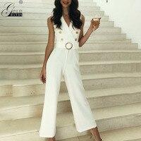 Gold Hands Women Straight High Waist Full Length Jumpsuit Button Design Wrap Belt V neck Wide Leg Casual Solid Slim Fit Jumpsuit