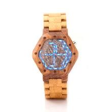 BOBO BIRD LED Digital Wood Watch Mens Kisai Night Vision Wood LED Watch Minimal LED Watch