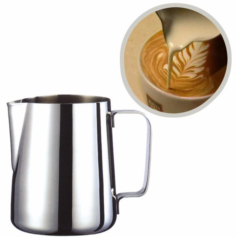 350ml Coffee Pitcher Stainless Steel Milk Frothing Jug Espresso Barista Craft Coffee Latte Milk Frothing Jug Kitchen Home stainless steel coffee pitcher milk cup garland cup fancy coffee cylinder cappuccino cafe 300ml
