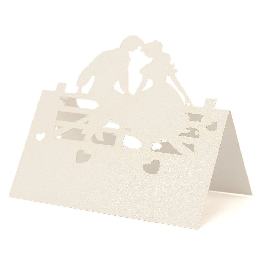 50pcs Laser Cut Bride Groom Table Name Place Card Recycled Paper For ...