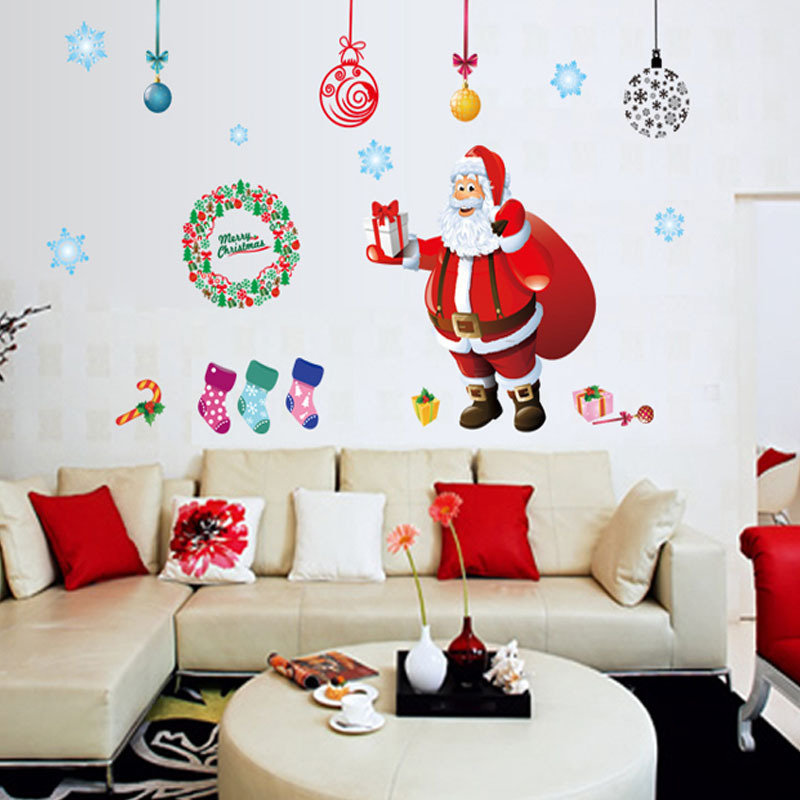 2017 Removable Large Santa Christmas Tree Wall Decals DIY