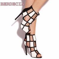 white black hollow out sandals open toe high heel sandals woman shoes fashion ladies stiletto heel shoes summer hot sandals