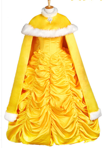 Adult Beauty and The Beast Princess Belle Fancy Dress Coplay Costume with gloves and petticoat