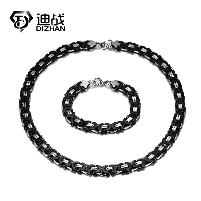 New Arrival Sporty Chunky Black Charm Chain Necklace Bracelet Mens Jewelry Set Cuban Cable Link Two